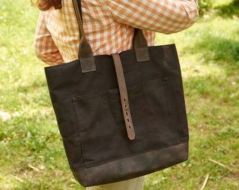 Dark brown waxed canvas bag. Canvas and leather tote bag.  Brown canvas bag. Waxed canvas tote bag.