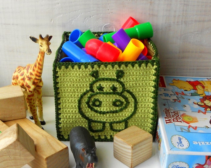 Baby Shower Gift, Hippo Nursery Storage Bin, Crochet Box with Hippo Embroidery, Hippo Nursery Decor, Jungle Nursery Decor, Green Nursery Bin
