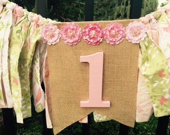 Baby pink and green birthday banner garland high chair bunting