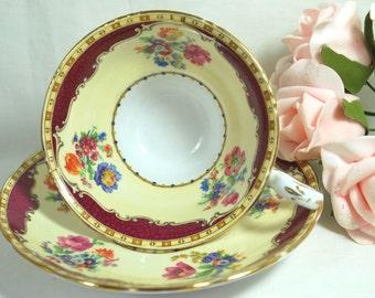 Vintage Fine Porcelain Tea Set Cup and Saucer Burgundy and Cream England made