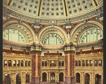 Library of Congress, Reading Room in rotunda 1901. Vintage photo postcard reprint 8x10-up. Library of Congress Thomas Jefferson Building