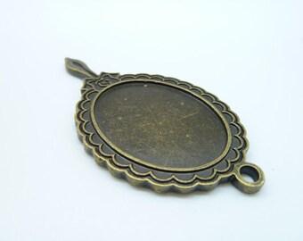 2pcs 37x72mm -28x36mm Antique Bronze Oval Mirror Charm Pendants C2036
