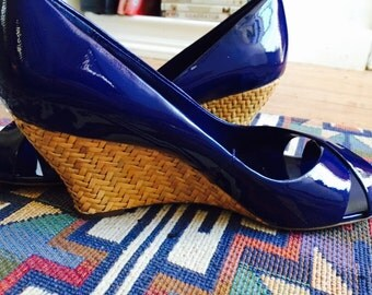 ROYAL Blue PATENT Leather  WEDGES