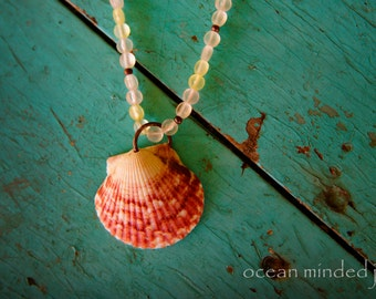 Sea Glass and Leather Scallop Shell Necklace ~ seashell jewelry