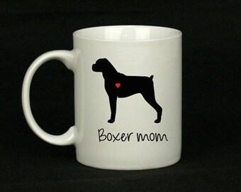 Boxer Mom or Boxer Dad White Coffee Mug - Dishwasher Safe Design