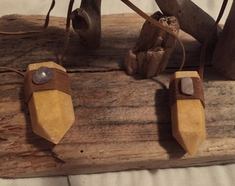Yellow jasper leather wrapped necklace