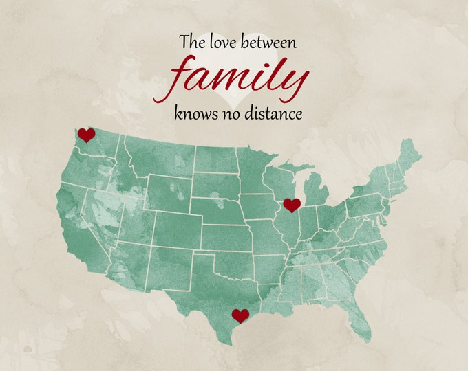 Long Distance Personalized Family Gift Idea US Map Custom Mothers Day Gift for Families Unique State Art Print Heart Together Gift for Mom