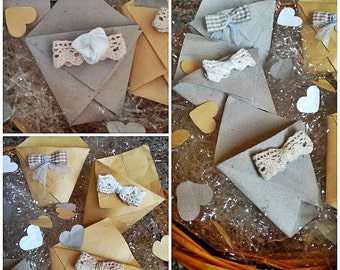 Rice paper bag decorated with shaped and with small bow Central, customizable colors.