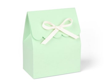 Favor Boxes, Mint Green with Ivory Ribbon // Set of 8