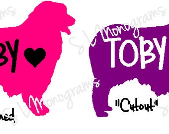 Australian Shepherd Vinyl Decal Sticker with Dog Name