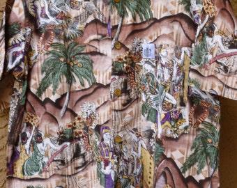 Duke Kahanamoku Hawaiian Coconut Button Hawaiian Daddy Mens Shirt
