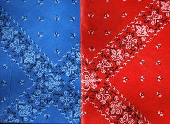Red And Blue Bandanas Gang: Red Blue Bandana Handkerchief