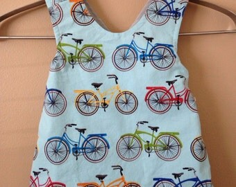 Blue Bicycle Pinafore- 12 month