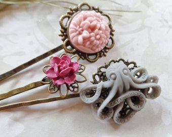 Set of 3, Grey Octo And Pink Posy Hair Clips
