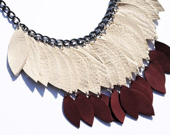 Bone white and burgundy leather necklace