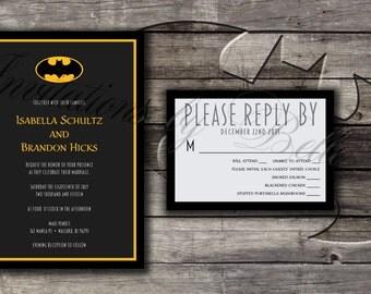 Batman Symbol Wedding Invitation Set Bat DC Comics Printable Printed Digital