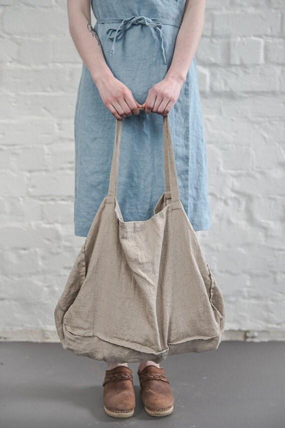 Large Natural Linen Tote Bag Linen Beach Bag