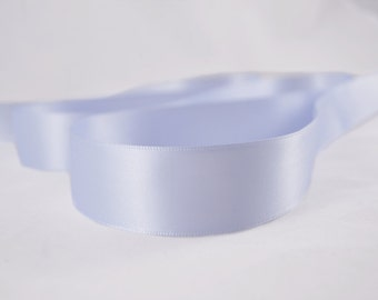 "Light Blue Bell Ribbon, Double Faced Satin Ribbon, Widths Available: 1"" (25mm) and 1/2"" (12mm)"