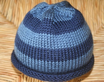 Hand Knit Baby Hat with Blue Stripes / Toddler Hat / Baby Beanie