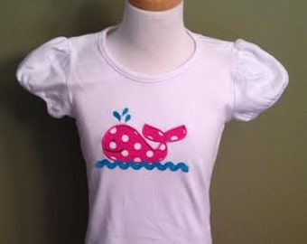 Girls whale applique shirt monogrammed with your childs name