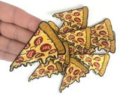Pizza Patch - Iron On Patch - Embroidered - Applique - Pepperoni Pizza Slice