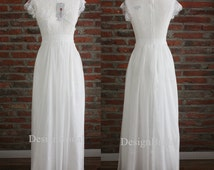 NEW!Unique Elegant White Evening Dresses,White Wedding Guest Dress,Graduation/Homecoming/Prom/Ball Dress 2015,Silk Chiffon Long Evening Gown