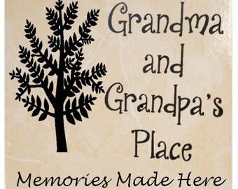 Large 12 x 12 Grandma and Grandpa's Place Ceramic Tile