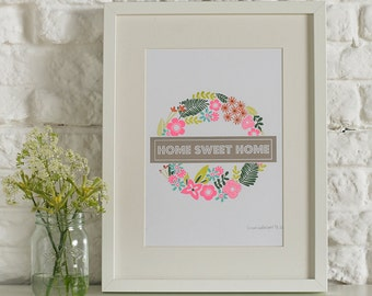 Home Sweet Home Floral Wall Art, Screen Print, A4 Wall Art, Floral Print, Floral London Tube Map Print