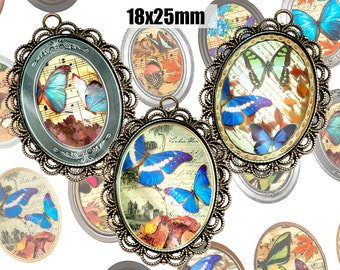 Digital Collage Sheet Butterfly in frame 18x25mm Printable Oval Download for pendants magnets Cabochons jewelry