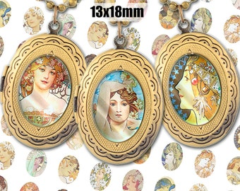 Digital Collage Sheet Alphonse Mucha 13x18mm Printable Oval Download for pendants magnets Cabochons jewelry