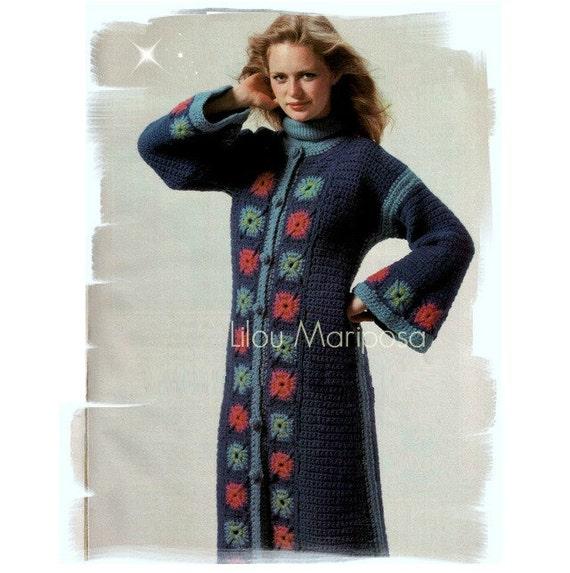 Crochet Pattern Vintage 70s Granny Squares Coat Jacket ...