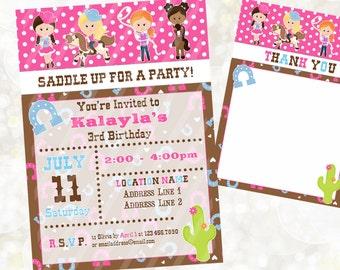 Cowgirl Digital Invitation - Girl Rodeo Birthday Invitation - Western Theme Invitation - You Print - Kids Western Birthday Theme