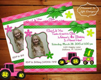 Pink and Green John Deere Birthday Invitation........Personalized Printable Download