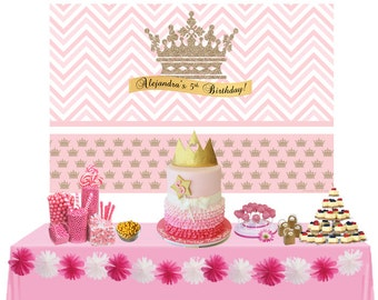 Litte Princess Personalized Backdrop - Birthday Cake Table Backdrop Birthday- Gold Crown Backdrop, Royal First Birthday, Custom Backdrop