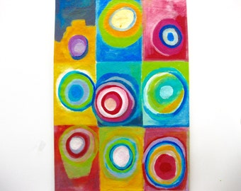 SOLD  Canvas painted floor cloth - 2 x 3 feet, Kandinsky inspired. Colorful.