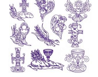 Set 10 Redwork Religious Designs  Machine Embroidery DESIGN NO. 413