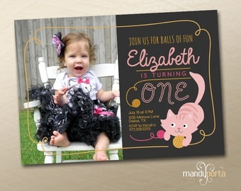 Pink Cat Girls First Birthday Party Invitation DIY Custom Digital Printable Card with Photo