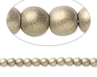 Czech Glass Pearls - 4mm - Gold Satin - 100 Beads