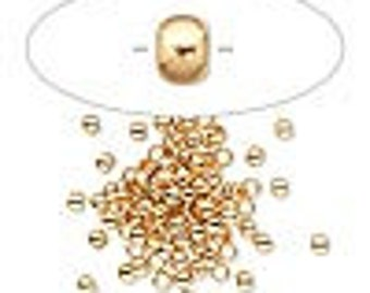Gold Brass Crimps - 2.5x2mm round and 1.5mm inside diameter - Pack 100