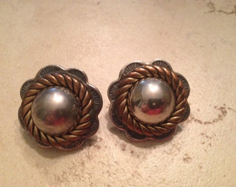 Vintage Silver and Gold Tone Disc Earrings Costume Jewelry