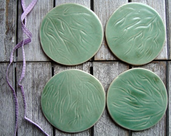 Ceramic Coasters, Hand made, set of 4, nature inspired, hand carved design, moss green , satin matt glaze, round, homeware, glazed Stoneware