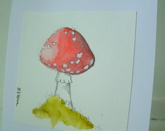 "Hand Painted 6"" x 6""  ""Toadstool"" Greetings Card"