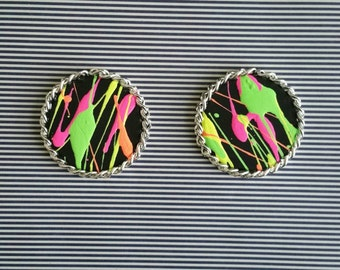 Neon Splatter Earrings