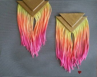 Double Triangle Fringe Earrings - Sunrise