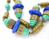 Vintage Antique Art Deco Neiger Czech Enamel Ridged Peking Glass  Necklace