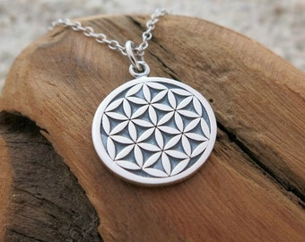 Flower of Life Necklace, Sterling Silver Flower of Life Charm, Sacred Geometry Jewelry