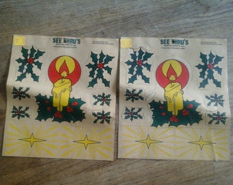 1960's Christmas Window Decals