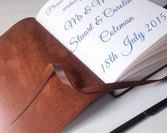 Rustic Wedding guest book, leather guest book, a5 handbound blank book, vintage distressed brown leather, custom quote, choose your message