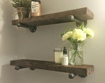 Rustic wood shelves with industrial pipe mount || pipe wood shelf || bathroom shelf || industrial chic shelves || custom wood furniture