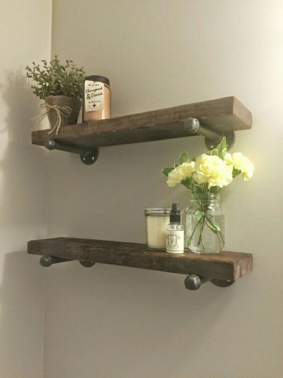 Rustic Wood Shelves : Rustic wood shelves with industrial pipe mount  pipe wood shelf ...